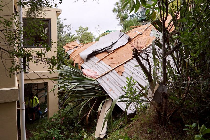 A roof blown off of a building in the Birkdale, North shore area of Auckland after a storm hit the region on April 11, 2018.