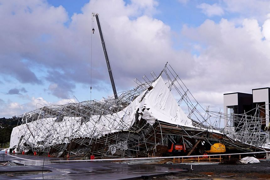 Damaged scaffolding in Auckland's Hobsonville Point after a storm hit the region on April 11, 2018.