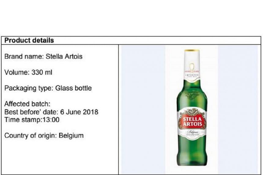 Each affected 330ml bottle has a best-before date of June 6, 2018, and a time stamp of 13:00. The batch was made in Belgium.