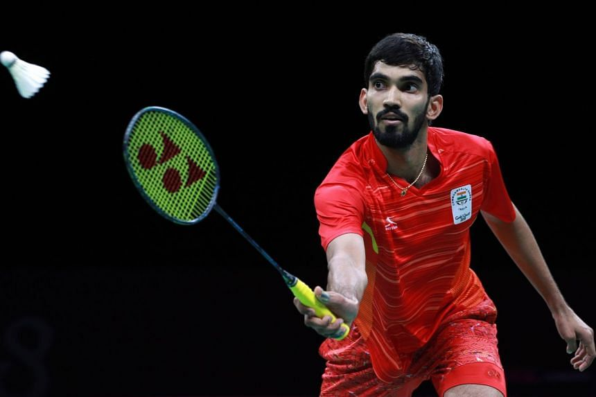 Kidambi Srikanth of India in action against Lee Chong Wei of Malaysia in the Gold Coast Commonwealth Games mixed team final at the Carrara Sports Arena 2 on April 9, 2018. He won in straight games as India took the title by a 3-1 scoreline.