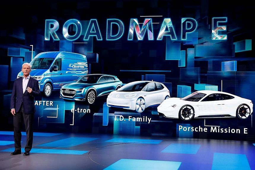 CEO Matthias Mueller presenting Volkswagen's electrification initiative at an industry event last month. He is set to be replaced before the carmaker's annual general meeting on May 3, the Bild newspaper said yesterday.
