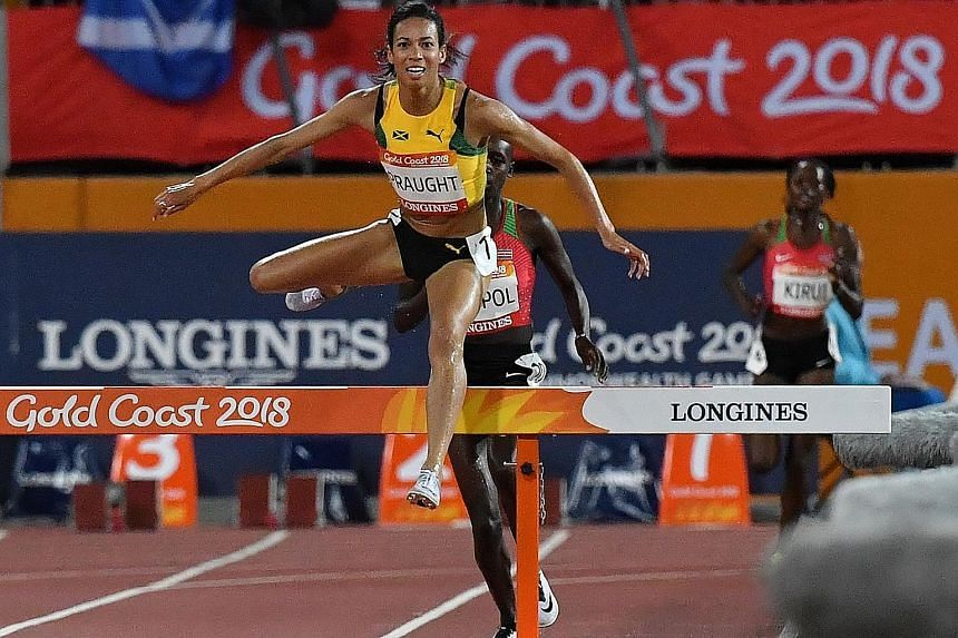 Jamaica's Aisha Praught competing during the 3,000m steeplechase final. She defeated Kenya's Celliphine Chespol and ended the East African nation's record of sweeping the podium at the last two Games.