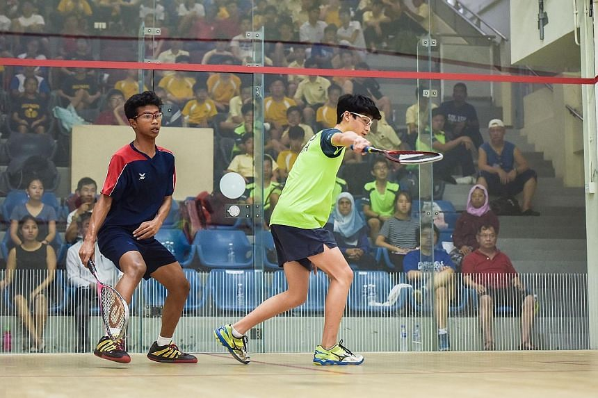 Outram Secondary School squash player Muhd Ridwan was the only one from his team to win a game against Fairfield Methodist School (Secondary), albeit he ended up losing 1-3 to his opponent Gabriel Chow. Fairfield stormed to a 5-0 victory over Outram