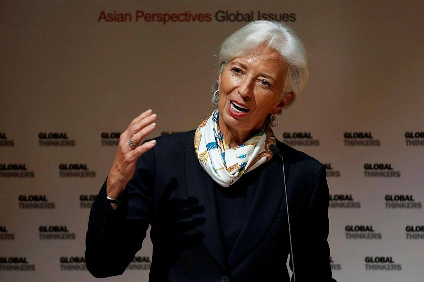 International Monetary Fund managing director Christine Lagarde delivers a speech at the University of Hong Kong, in Hong Kong on April 11, 2018.