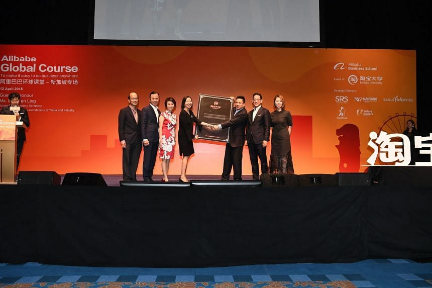 (From left) Deputy principal of development at Nanyang Polytechnic Edward Ho, chairman of board of governors at Nanyang Polytechnic Tan Tong Hai, Senior Parliamentary Secretary for Education and Trade and Industry Low Yen Ling, principal and CEO of N