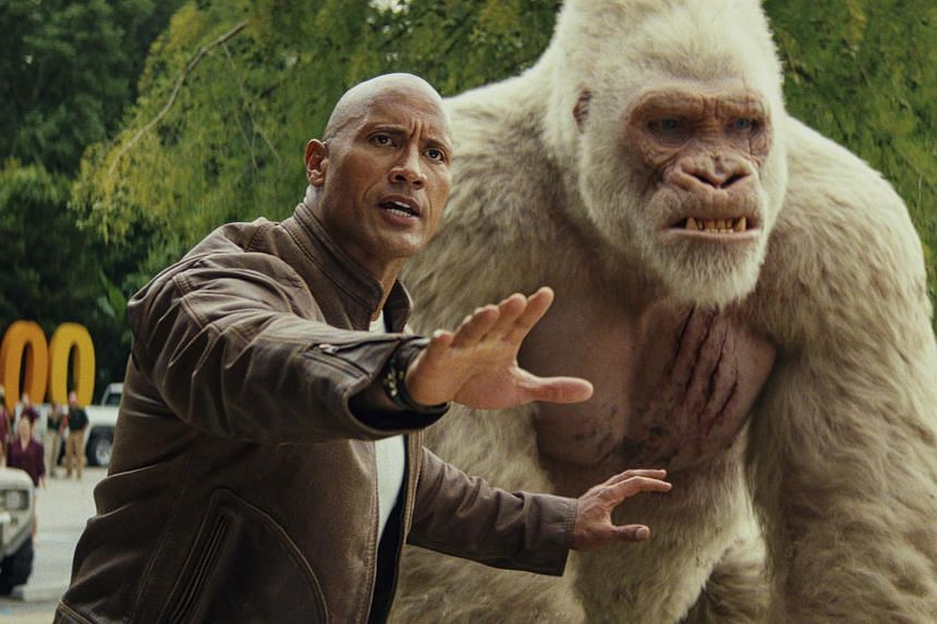 A still from the movie Rampage, starring Dwayne Johnson.