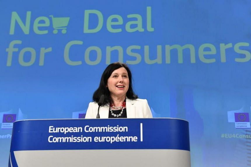 European Commissionner for Justice, Consumers and Gender Equality Vera Jourova addresses a press conference on the new deal for EU consumers, at the European Commission in Brussels on April 11, 2018.