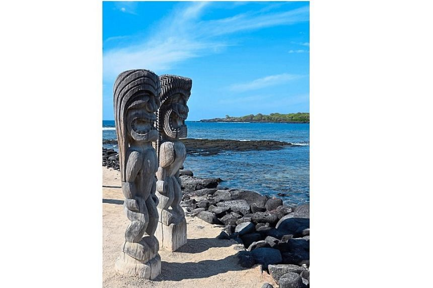 The temple of Hale o Keawe is guarded by fierce wood-carved statutes called kii.