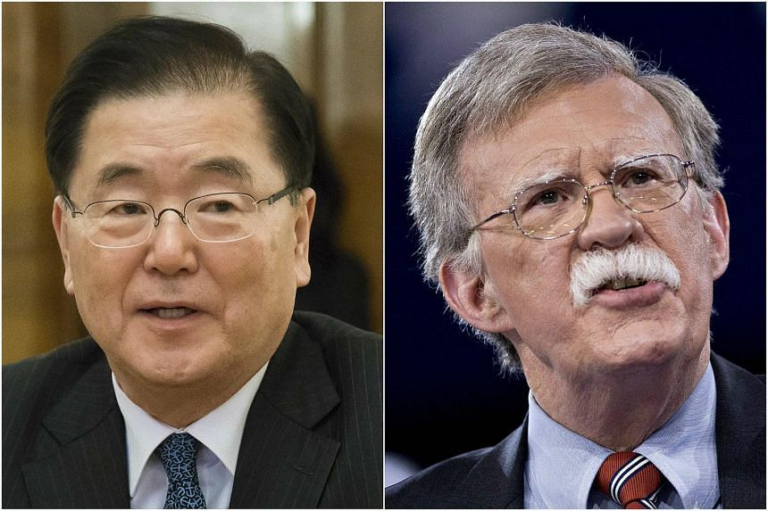 Chung Eui Yong (left) is due to meet John Bolton on Thursday regarding growing concerns over American's hardline stance on the nuclear-armed North.