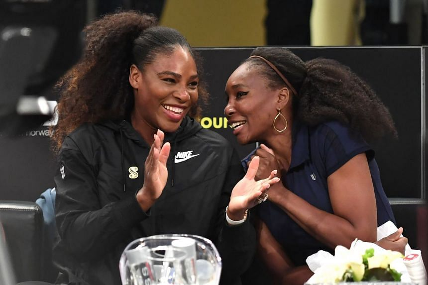 Serena Williams (left) and sister Venus before their matches in the Tie Break Tens New York tournament in March 2018
