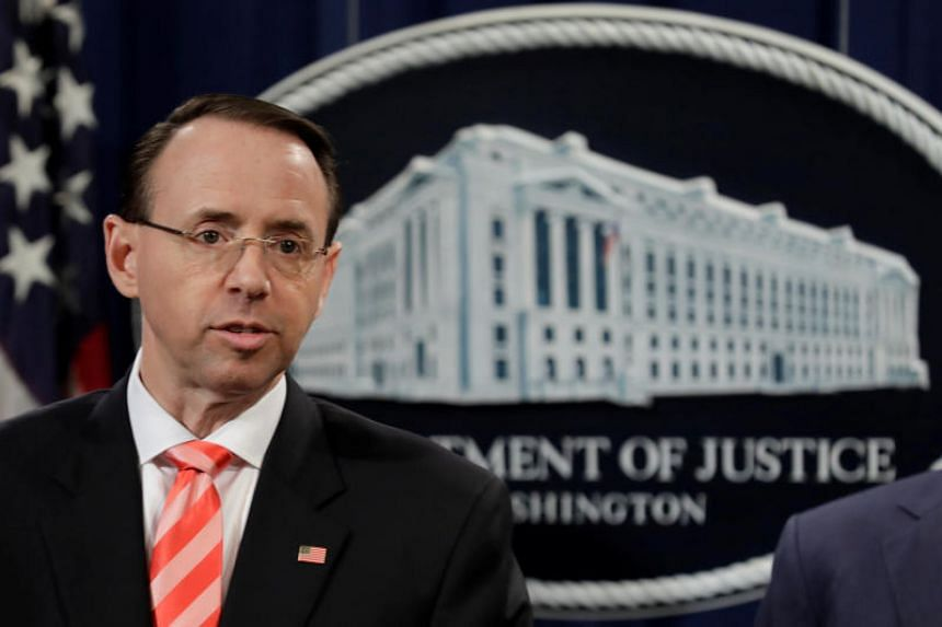 US Deputy Attorney General Rod Rosenstein at a news conference at the Justice Department in Washington, US on March 23, 2018.