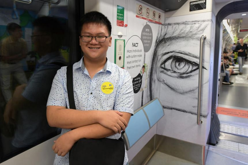 "Choo Jian Wei's ""Sketch of An Eye"" is one of the 10 artworks on display on board Singapore's first autism-themed MRT train and at four interchange stations."