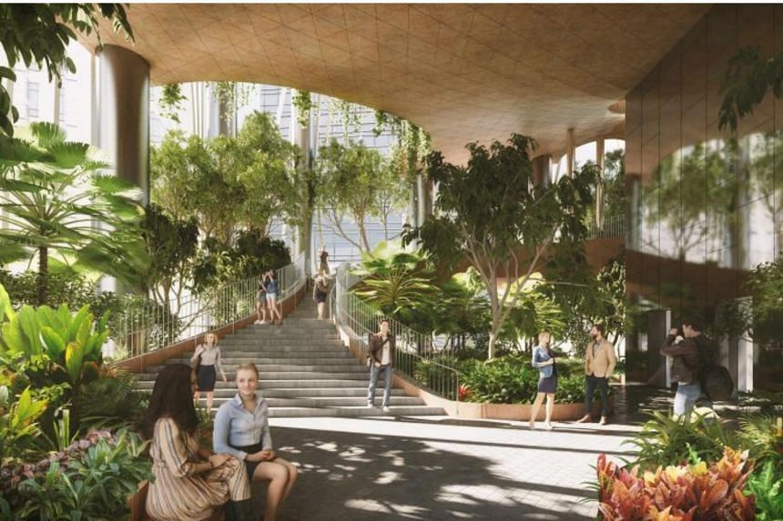 Upon completion, CapitaSpring will be one of the tallest and greenest buildings in Raffles Place, with treetop cocoons, sky hammocks, and the Green Oasis, a four-storey high botanical promenade.