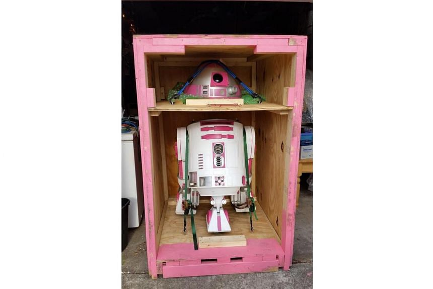 The completed commissioned R2-KT, with its signature pink hue, travels around the world to spread awareness of paediatric illnesses as well as to bring cheer to sick children.