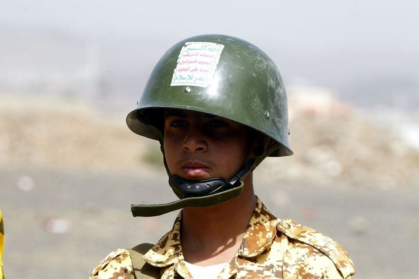 A Huthi militiaman attending a rally against Saudi-led military operations in Yemen.