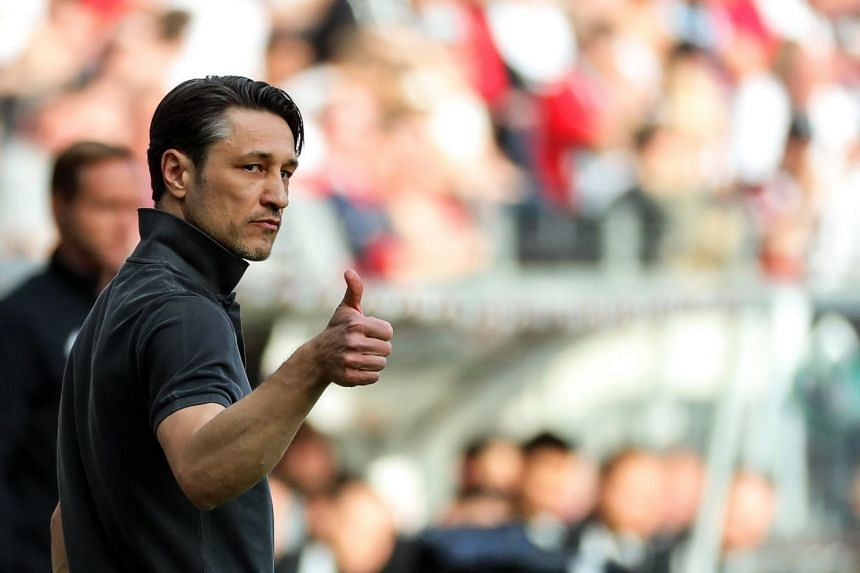 Kovac reacts during a German Bundesliga soccer match.