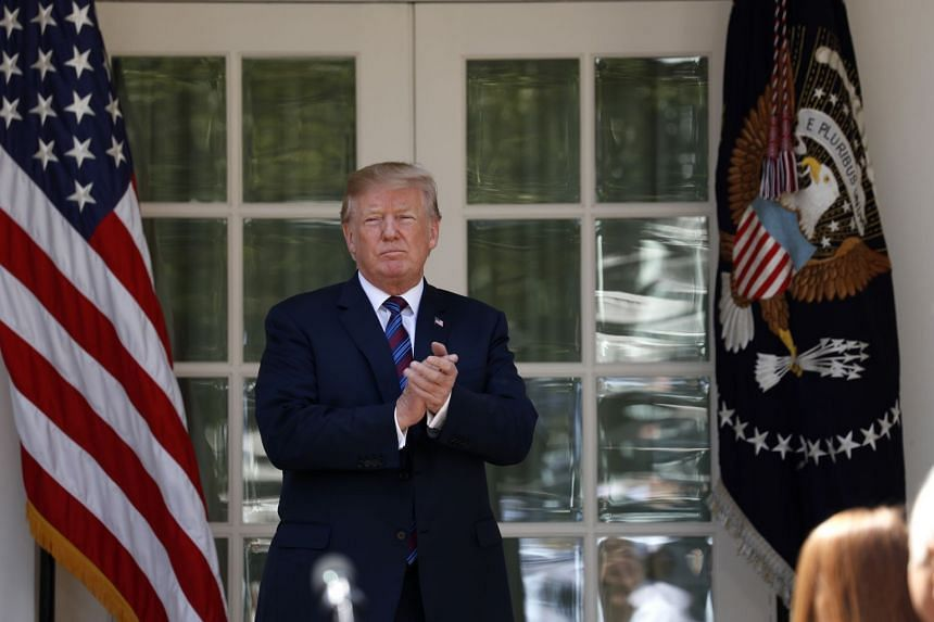 Trump departs after giving remarks on tax cuts for American workers during an event at the White House.