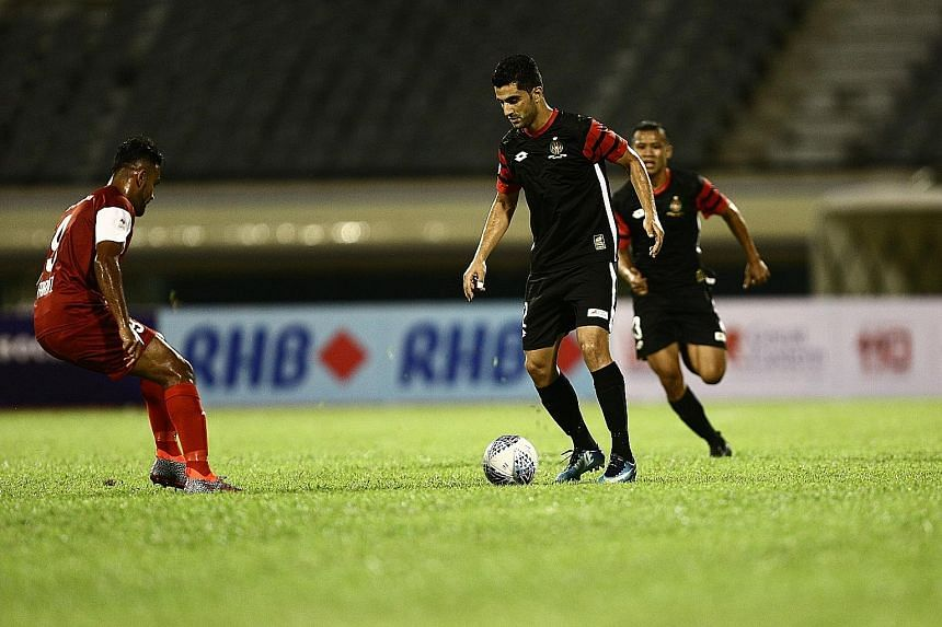 DPMM's Iranian striker Mojtaba Esmaeilzadeh (right) impressed against Home United with a goal and is one to watch tomorrow when his side take on Albirex Niigata.