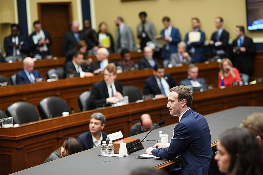 Facebook chief executive Mark Zuckerberg appearing before the House Energy and Commerce Committee on Wednesday in Washington. He faced a series of questions not just on data security, but also on advertising policy and liberal political bias.