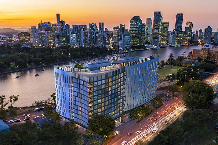 The aerial view of Banyan Tree Residences Brisbane at sunset. PHOTO: Banyan Tree Group