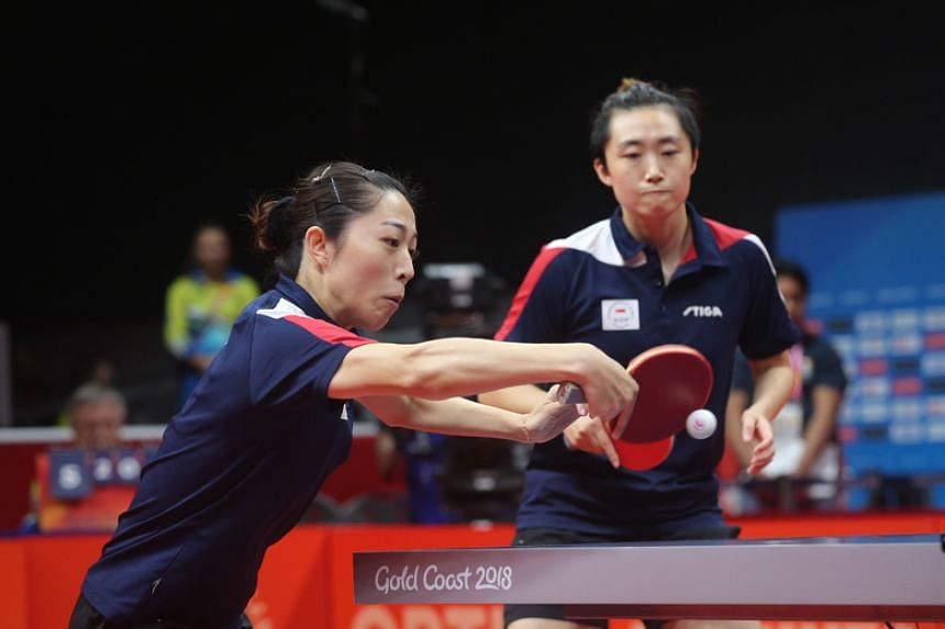 Singapore's Feng Tianwei (right) and Yu Mengyu (left) will face India's Manika Batra and Mouma Das in the Commonwealth Games table tennis doubles final on April 13, 2018.