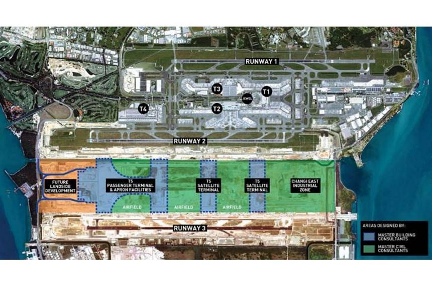 Terminal 5 is part of the larger Changi East development project that includes a three-runway system, as well as the development of cargo complexes and other supporting aviation and ground transport infrastructure.