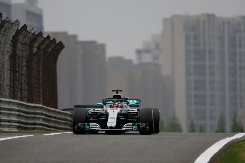 Mercedes' Lewis Hamilton lapped the 5.4 km Shanghai International Circuit in 1min 33.482 sec in the afternoon practice on April 13, 2018.