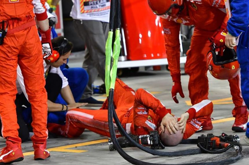 Francesco Cigarini suffered a fractured shinbone and fibula on his left leg after being struck during a botched pit stop when Kimi Raikkonen was given the signal to go before the left rear tyre had been replaced.