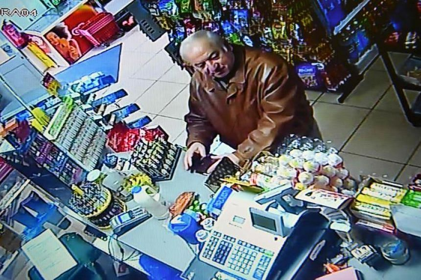 A still image from CCTV footage recorded on Feb 27, 2018, shows former Russian spy Sergei Skripal buying groceries at a convenience store in Salisbury, England.