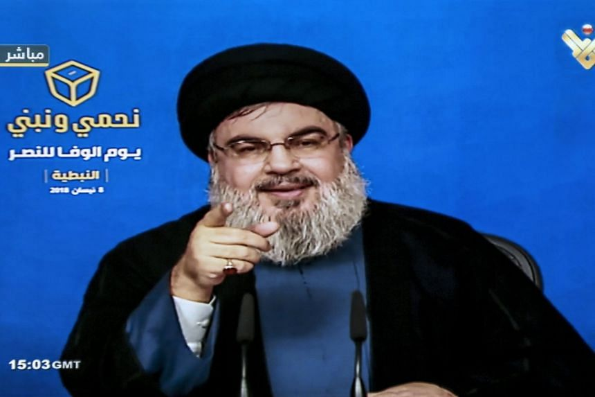 Hezbollah leader Sayed Hassan Nasrallah giving a televised address on April 8, 2018.