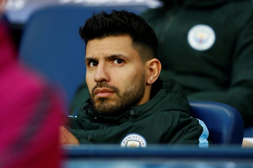 Aguero on the substitutes' bench during City's match against Liverpool.
