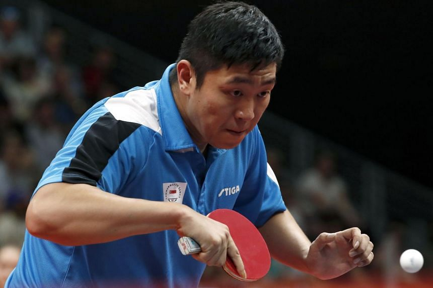 Gao Ning of Singapore in action against England's Samuel Walker in the singles semi-finals of the Gold Coast Commonwealth Games at the Oxenford Studios on April 14, 2018.