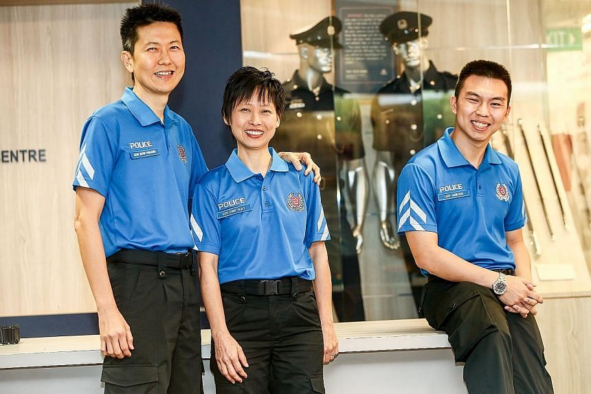 Among the first batch of VSC (Community) officers are (from left) retiree Goh How Phuang, his wife, Yvonne, and student Loo Jian Kai, 24. Unlike regular police and VSC officers, the VSC (Community) officers will not carry firearms, but they will stil
