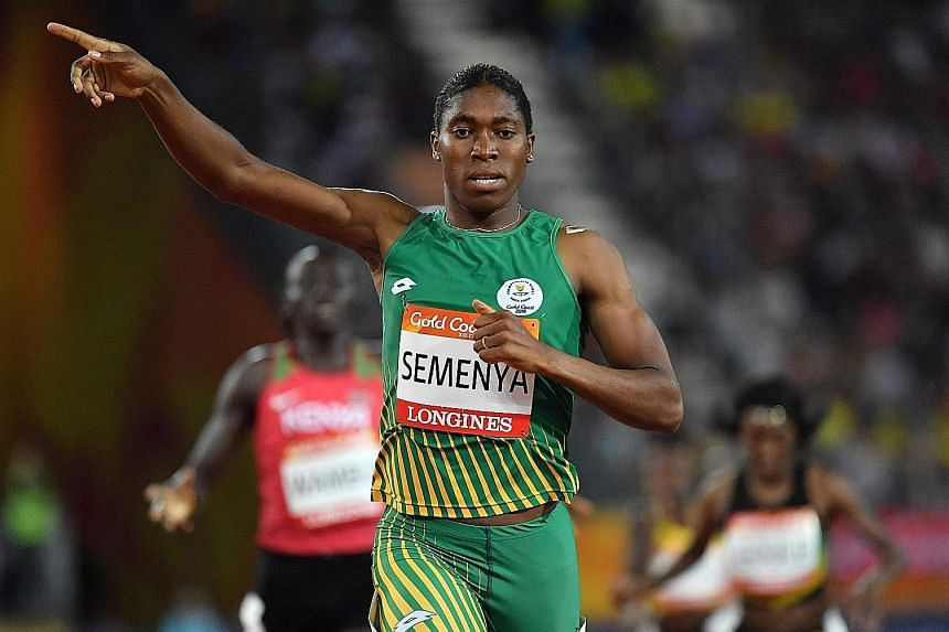 South Africa's Caster Semenya winning the women's 800m final at the Carrara Stadium on the Gold Coast yesterday. She also won the 1,500m earlier in the week.