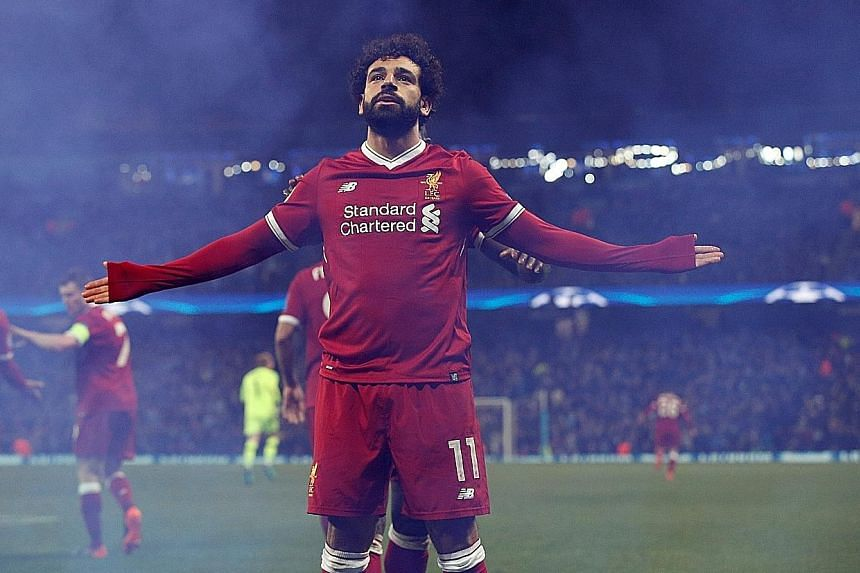 Mohamed Salah celebrating his equaliser for Liverpool against Man City on Tuesday. The Reds are joint favourites with Real Madrid to win the Champions League next month.