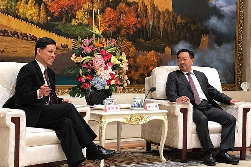 Minister in the Prime Minister's Office Chan Chun Sing meeting Gansu Governor Tang Renjian in Lanzhou yesterday.
