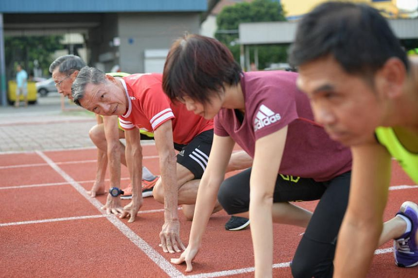 74-year-old John Chua (second from left) will compete at the World Masters Athletics Championships in Spain in September.