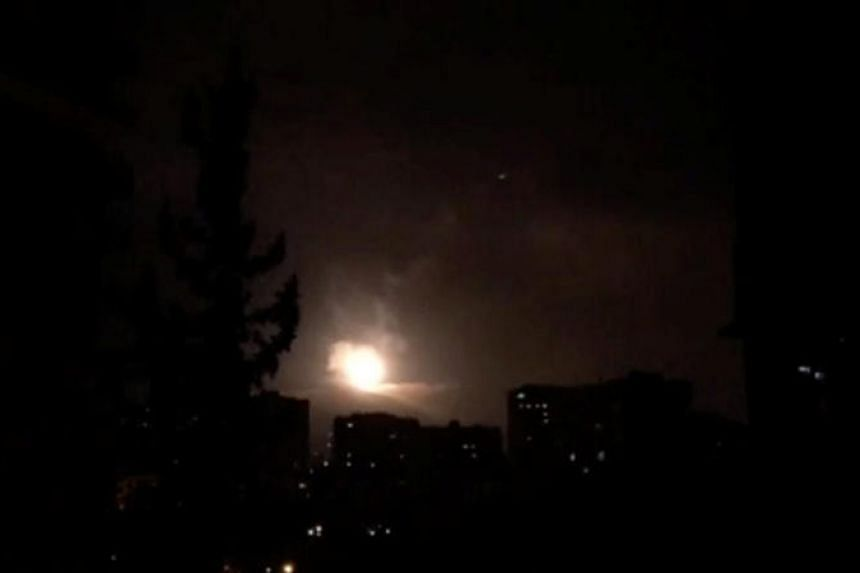 Syria air defences strike back after air strikes by US, British and French forces in Damascus, Syria, on April 14, 2018.