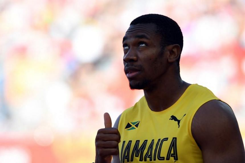 Yohan Blake of Jamaica reacts after heat 8 in the mens 100m of Athletics competition of the XXI Commonwealth Games at the Gold Coast, Australia, on April 8, 2018.