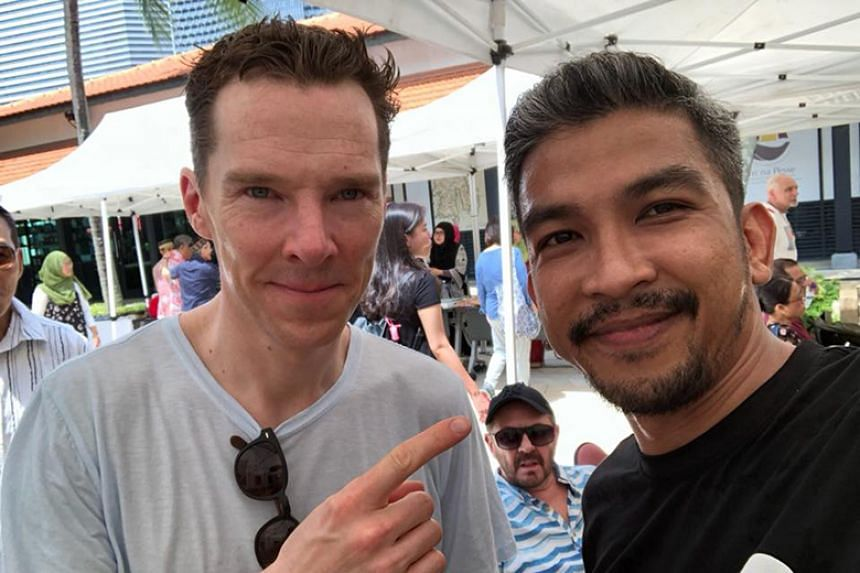 Benedict Cumberbatch was at the Pasar Ugi event in Kampong Glam on April 14, 2018.