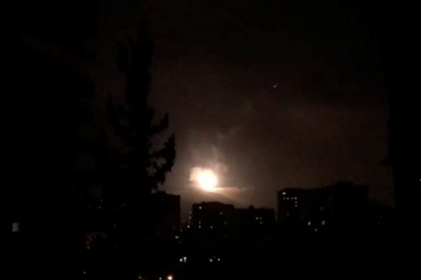 Syria air defences strike back after air strikes by the US, British and French forces in Damascus on April 14, 2018.