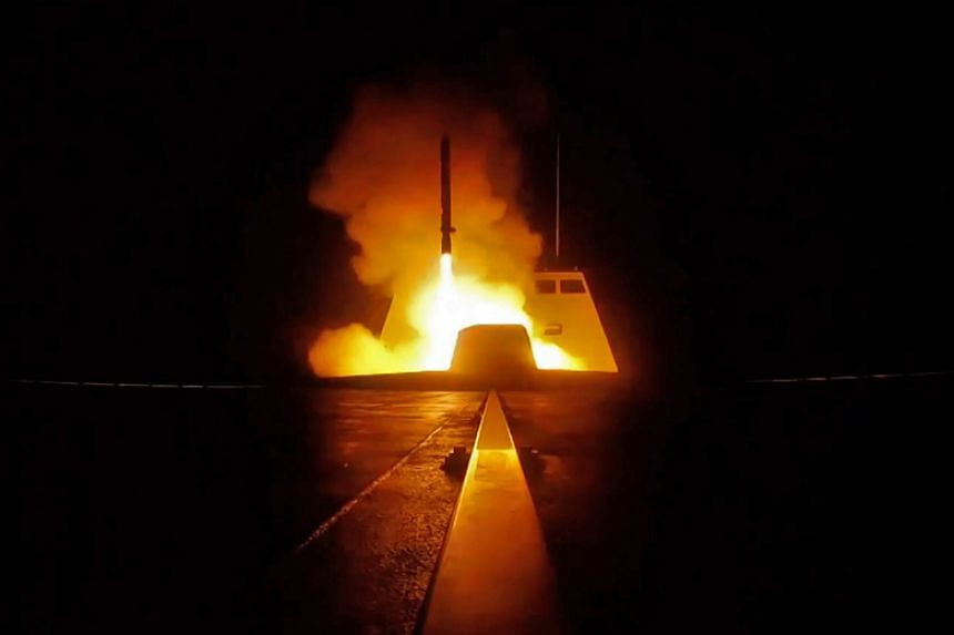 The launching of a cruise missile from a French military vessel in the Mediterranean sea towards targets in Syria overnight on April 13 to 14, 2018.