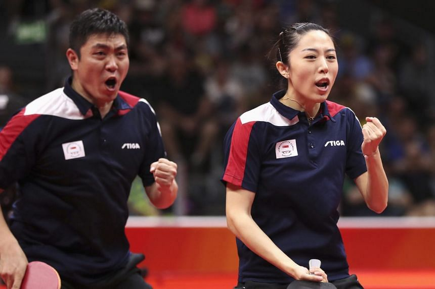 Singapore paddlers Gao Ning (left) and Yu Mengyu looked comfortable in the first game, but had to fight back against the third seeds after conceding the next two games in the best-of-five tie.
