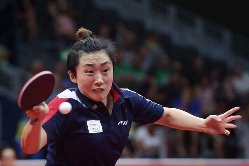 Feng Tianwei fell to India's Manika Batra in the semi-finals but beat Canada's Zhang Mo 11-2, 11-7, 5-11, 8-11, 11-7, 11-3 in the play-off for third place to take the bronze.