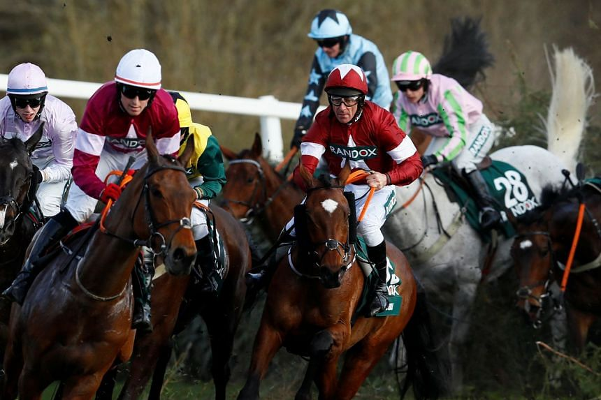 Tiger Roll and jockey Davy Russell (centre) in action at the Canal Turn before winning the National.