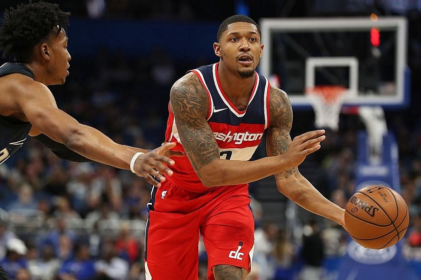 Washington guard Bradley Beal driving to the basket. He holds Toronto guards Kyle Lowry and DeMar DeRozan in the highest esteem.