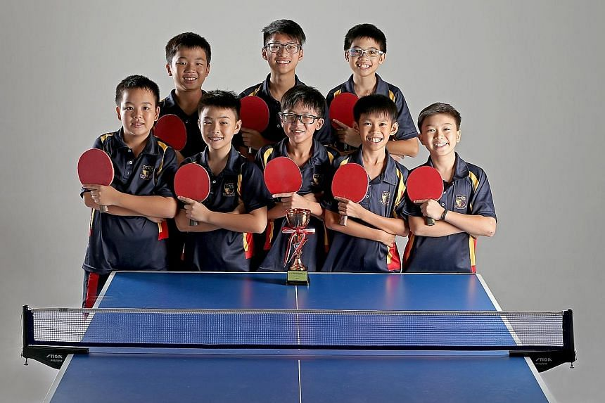 The ACS (Barker Road) C Division squad comprise (front row from left): Ryan Chong, Silas Chua, Ethan Ong, Ryan Eng and Benjamin Wee, and (back row from left) Ethan Chua, Ryan Tan and Seth Wong.