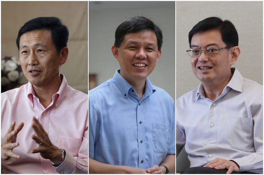 (From left) Fourth-generation ministers Ong Ye Kung, Chan Chun Sing and Heng Swee Keat may take on responsibilities that plug gaps in their experience. The Cabinet reshuffle is expected to be announced this month.