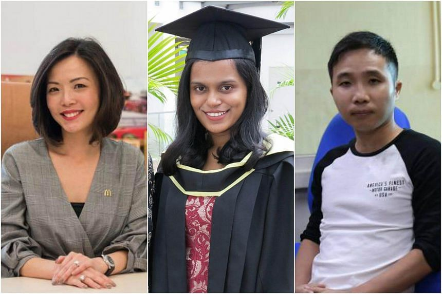 (From left) Lynn Hong, Sharmila Khan and Goh Keng Chwee, who graduated with degrees from private universities.