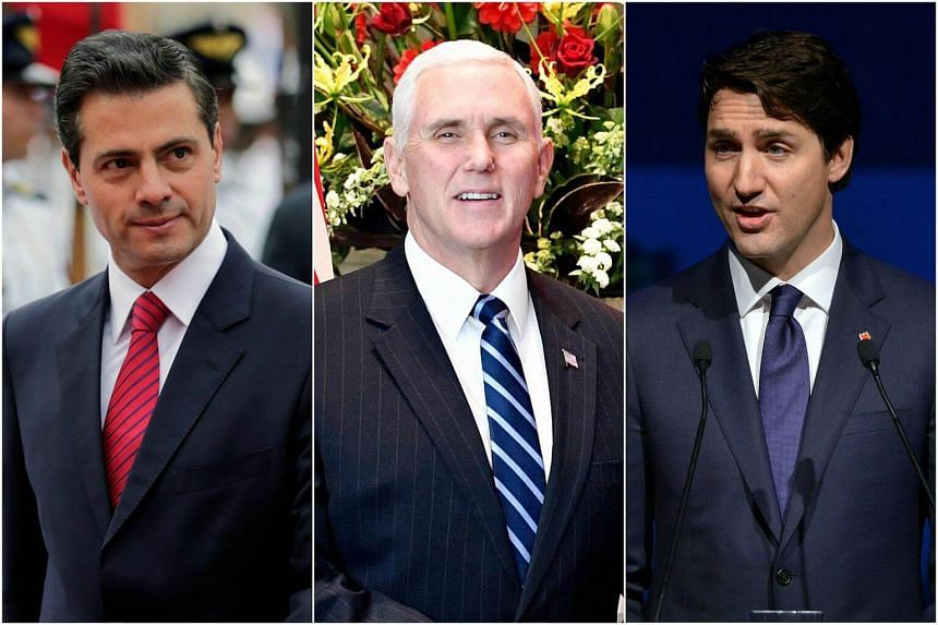 Mexican President Enrique Pena Nieto (left), US Vice President Mike Pence (centre) and Canadian Prime Minister Justin Trudeau said they thought an agreement could be reached before the Mexican elections on July 1, 2018.